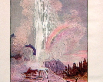 A Geyser - 1902 Antique Book Page from A Children's Story Book