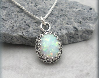 Opal Necklace, Opal Jewelry, October Birthstone Necklace, Birthstone Jewelry, Gemstone Necklace, Oxidized Necklace, Cabochon Necklace