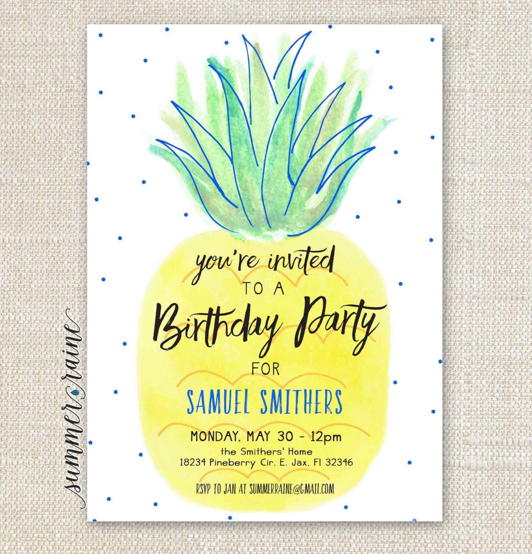 Pineapple Birthday Boy Party Invitation printable DIY