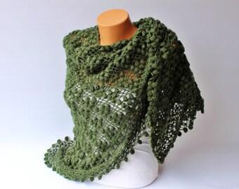 Sale - Triangle shawl Bridal shawl crochet shawl scarf Bridesmaid gift  crocheted shrug capelet wrap -