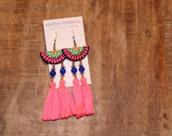 Boho Cotton Tassel Earrings | Pink Tassel Earrings | Colorful Boho Earrings, Tassel Dangle Earrings, Tribal Earrings
