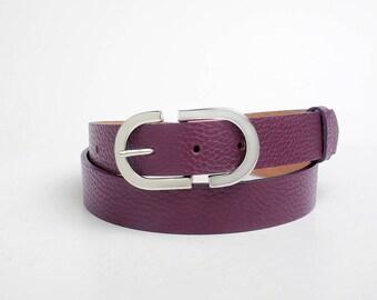Leather Belt, Purple Leather Belt, Purple Womens Belt, Womens Belt