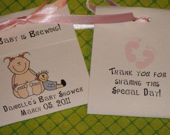 Sweet and Adorable Baby Girl with her dolly Baby Shower Tea Bag Favors