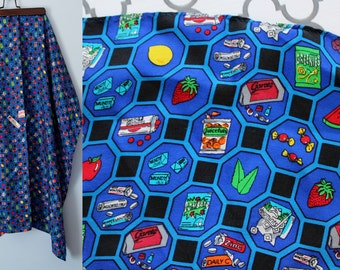 SALE Vintage Tasty Silk Square Scarf /Garoto Candy Promo Scarf // Snack Food & Candy Honeycomb Pattern Royal Blue Kerchief // Oversize 1950