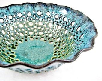 Pottery fruit bowl , fruit bowl , teal blue pottery , modern home decor , turquoise ceramic - In stock 47 FB E