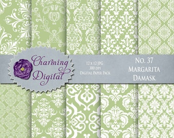 Green Damask Digital Paper, Green Scrapbooking Digital Paper, No. 37 Margarita Damask