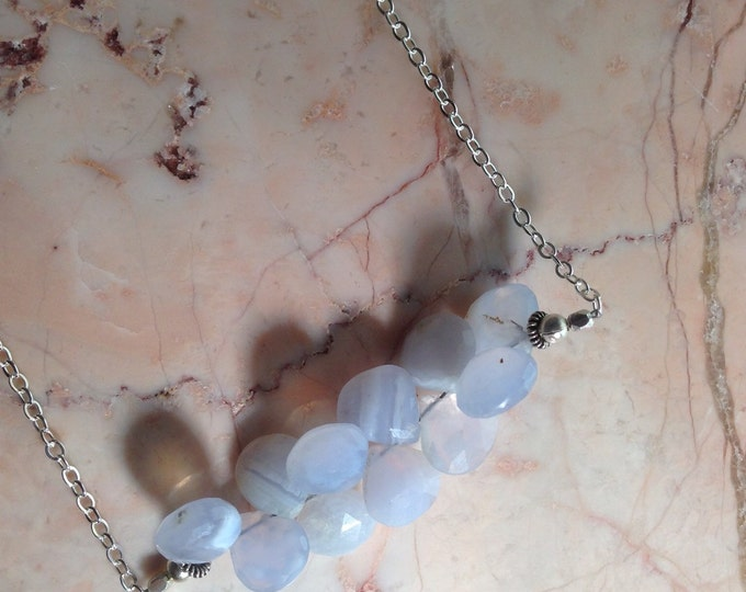 Blue Lace Agate Cluster Bar Necklace