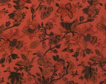 Cotton Fabric / Red Cotton Fabric / Vintage Floral Cotton Fabric / Red Floral Fabric / 4 Yards / Marcus Brothers