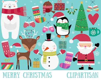 Christmas Clipart   Merry Christmas Clip Art   Santa Printable
