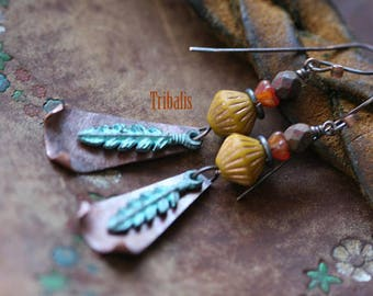 Rustic Jewelry . Bohemian earrings n7- boho jewelry . earthy jewelry . blue patina feather . copper metal and Czech glass beads . nature