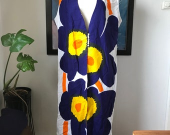 Vintage Marimekko Dress Caftan / Size Large - X Large / 1980 Finland Custom Made / Unikko Flowers / Unique piece