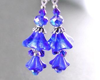 Cobalt Blue Flower Earrings Sterling Silver Botanical Bohemian Artisan Glass Flower Earrings Cobalt Blue Floral Dangle Earrings