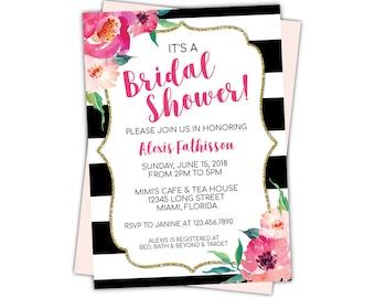 Kate Bridal Shower Invitation Editable Template, Spade Baby Shower Invitations, Black Striped Invite, Printable Floral Bridal Shower Invite