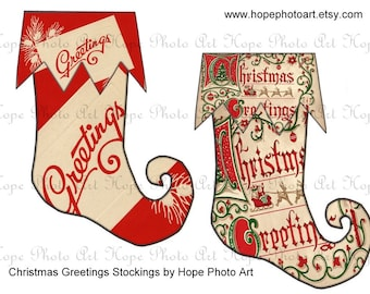 Christmas Greetings Red and White Stockings 5x7 Digital Collage Sheet tags banner garland pennant flags decoration bunting - U-Print 300jpg