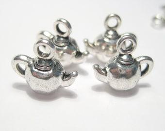 Antique Silver Small 3D Teapot Charms Pendants 12mm