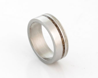 DINOSAUR BONE Ring with antler ring titanium wedding band mens wedding band woman ring man jewelry fossil ring
