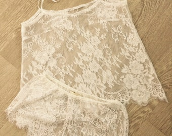 Short and top - Chantilly Ivory lace - Bridal lingerie honeymoon - lace romper , bridal romper , honeymoon romper , romper
