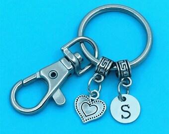Heart Keychain Heart Key Chains Custom Any Charm Heart Keyring Heart Key Rings Charm Keychain Personalized Keychain Custom Heart Charm Gift