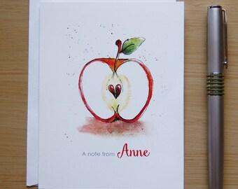 Personalized Apple Note Cards, Watercolor Apple, Thank You Note, Teacher Gift, Teacher Apple, Preschool Teacher, Autumn Fall Note Cards
