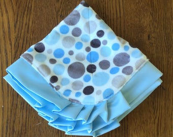 Blue and Gray Polka Dot Minky and Satin Lovey - Can Be Personalized