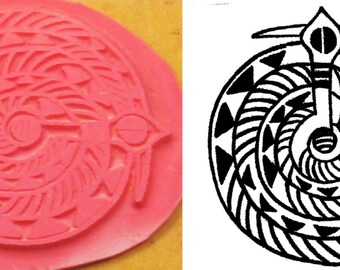 Design Stamping Tool for Polymer Ceramic PMC Clays & Textile Design - African Tribal Serpent - Tribal Native Stamp for Clay -  Cloth - Paper