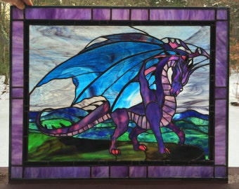 PANEL - FRAMED Stained Glass Flying Dragon-Home Decor, Window Hanging, Museum Quality, Green, Fantasy Art, Magical, Whimsical, Mystical