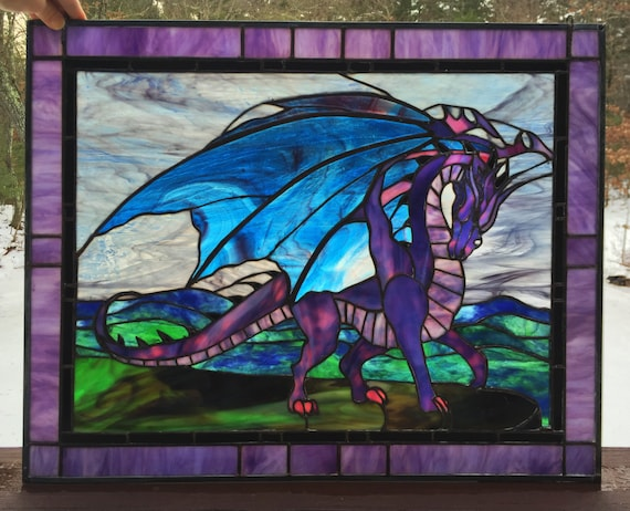 PANEL FRAMED Stained Glass Flying Dragon-Home Decor Window