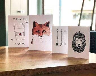 Designer illustrated cards - Blank inside