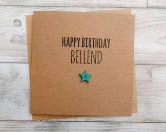 "Handmade funny rude ""Happy birthday bellend"" card"