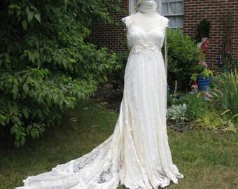 Boho Lace Wedding GownLace and Leather Boho wedding dress