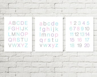 Girls Alphabet Prints, Kids ABC Poster, Numbers Sign Typographic Printable Wall Art, Pink Purple Blue Mint Grey 8x10 11x14 Digital Download