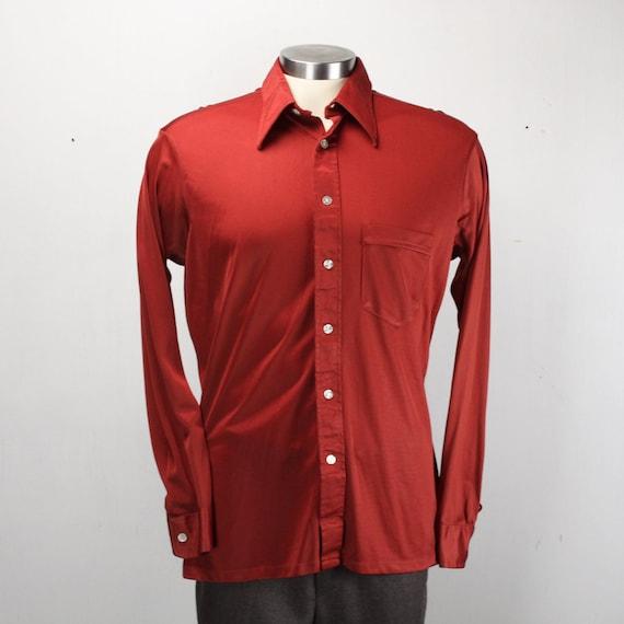 Vintage Men's Shirt - Geoffrey Scott - 1970's - Red / Burgundy - Metallic - Large - 16.5 Neck -Cotton/Nylon Blend