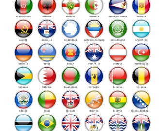 INSTANT DOWNLOAD Country flags Icons | Modern style Icons | Circle | Iphone Android