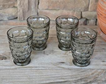 Set of 4 Footed Smoke Gray Thumbprint Juice Glasses