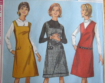 Simplicity Pattern 6134 Teens' and Juniors' One-Piece Jumper with Two Necklines : (Including Tissue Lesson-Chart)     1965     Uncut