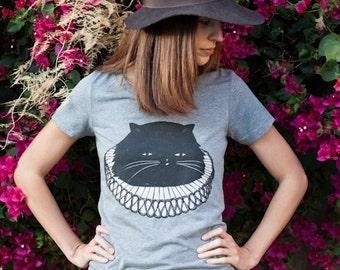 Cat T-Shirt, Elizabethan Cat T-shirt, Women's T-Shirt, Junior/Slim Fit Grey t-shirt