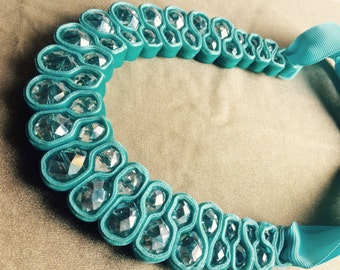 Aqua Ribbon Necklace~handmade blue necklace ~ turquoise blue handmade jewellery~partywear statement necklace~gift for her~coworker~sister