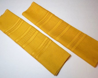 1960s Cloth Dinner Napkins Set of Two, Saffron Yellow with Openwork Knit Panel Detail