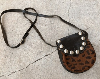 Vintage studded leopard pony hair bag