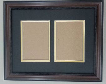 """11x14 1.25"""" Walnut Beaded Solid Wood Frame with Black and Gold Mat Cut for 2 5x7 Pictures"""