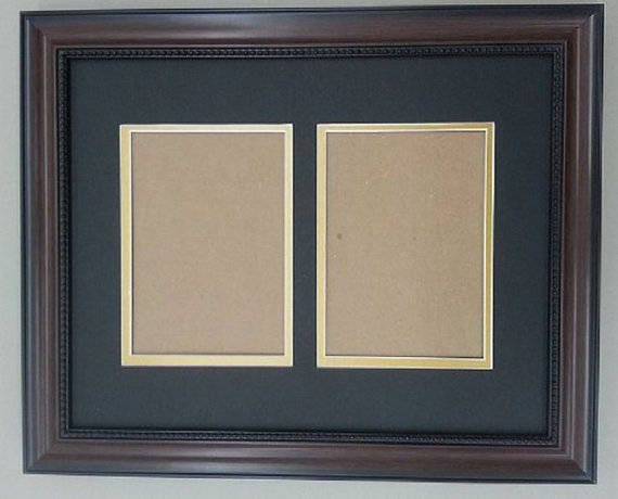 11x14 1.25 Walnut Beaded Solid Wood Frame with Black and Gold Mat ...