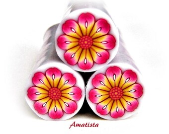 Polymer clay flower cane: Raw polymer clay cane - Millefiori cane supplies - Magenta-moustard flower cane - Supplies for jewelers