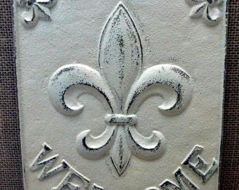 Fleur de lis Ornate Welcome Decorative Cast Iron Rectangular Plaque Off White Cream Distressed Wall Decor FDL French Paris Shabby Elegance