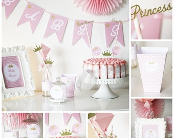 """Set for babyshower """"little princess"""" - pink and gold - crowns and stars - 6"""