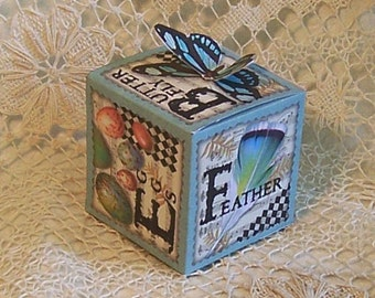 Digital Nature Gift Box Party Favor With Butterfly Gift Tag - Spring Summer INSTANT Download - Butterfly, Feather, Dragonfly CS33GB