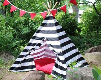 Kids Teepee Play Tent, Two Sizes READY TO SHIP, Can Include Window, Black Stripe, Teepee, Childrens Tee Pee