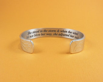 Inspirational Gift - She stood in the storm & when the wind did not blow her way, she adjusted her sails. - Encouragement Gift