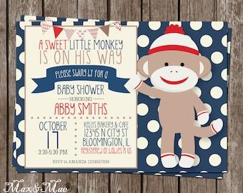 Blue Sock Monkey Baby Shower, Baby Shower Invitation, Sock Monkey Shower, Sweet Little Monkey, Digital, Printable