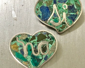 Vintage Taxco Mexico Los Ballesteros Sterling Heart YES NO turquoise Pins