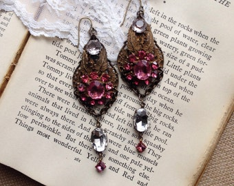 Vintage assemblage earrings, glass rhinestones, upcycled statement, OOAK, unique, vintage pink dress clips redesigned, dangle, repurposed